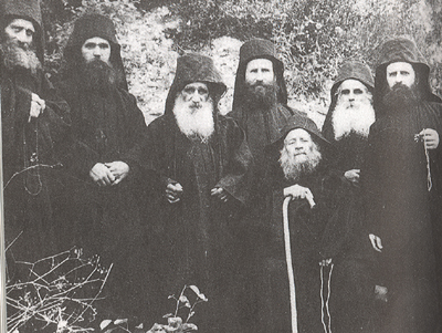The Brotherhood of the Elder Joseph at New Skete. (L to R) Fr. Athanasios (brother of the Elder Joseph), Fr. Ephrem, Elder Arsenios (co-ascetic), Fr. Joseph the Younger, Elder Joseph, Fr. Theophylactos, Fr. Charalambos
